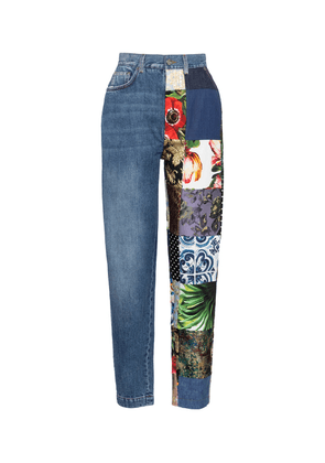 High-rise patchwork tapered jeans