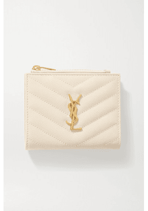 SAINT LAURENT - Monogramme Quilted Textured-leather Wallet - Off-white