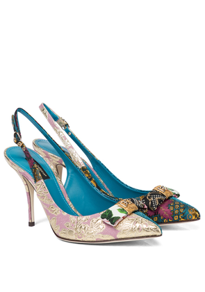 Brocade and glitter slingback pumps