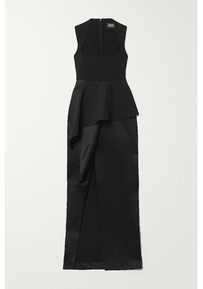 Solace London - Ally Layered Stretch-crepe And Satin Gown - Black