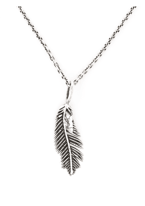 Saint Laurent feather pendant chain necklace - Silver