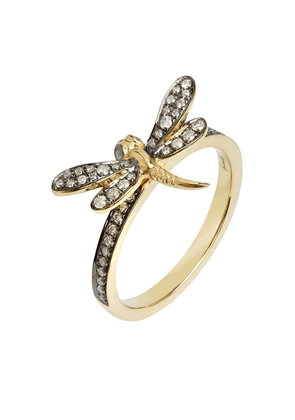 Annoushka 18kt yellow gold diamond Love Dragonfly ring - Silver