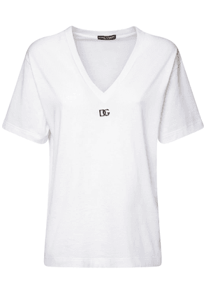 Metal Logo Cotton Jersey V-neck T-shirt