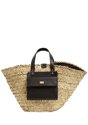Kendra Straw & Leather Tote Bag