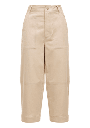 Cropped Cotton Gabardine Wide Leg Pants