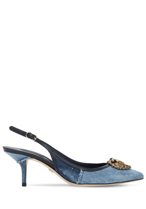 60mm Denim Patchwork Sling Back Pumps