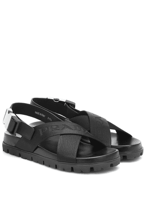 Crossover leather and nylon sandals