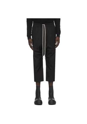 Rick Owens Black Cropped Drawstring Classic Trousers