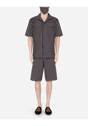 Dolce & Gabbana Loungewear Collection - Pin-stripe pajama set with matching face mask BLACK male 56