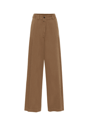 Cotton-twill wide-leg pants