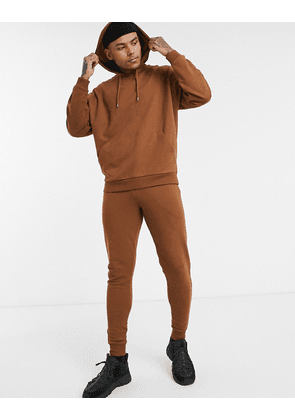 ASOS DESIGN oversized tracksuit with hoodie in brown