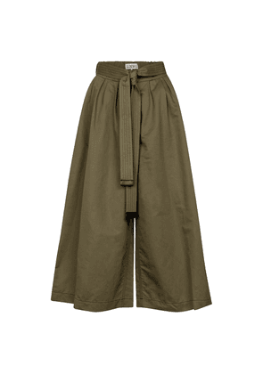 Belted cotton and linen culottes