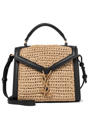 Cassandra leather and raffia shoulder bag