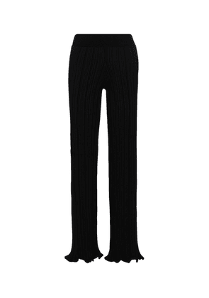 Ribbed-knit high-rise wide-leg pants