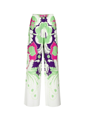 Valentino floral cotton high-rise wide-leg pants