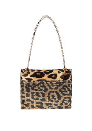 Pixel leopard-print mesh shoulder bag
