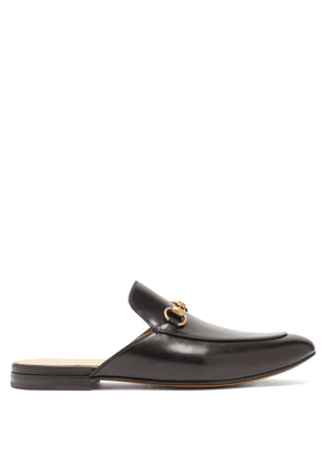 Gucci - Princetown Backless Leather Loafers - Mens - Black