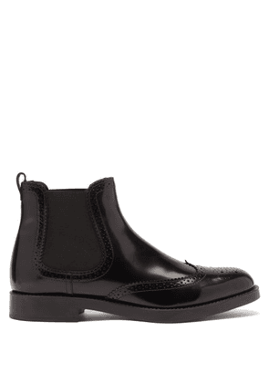 Tod's - Brogue-perforated Leather Chelsea Boots - Womens - Black
