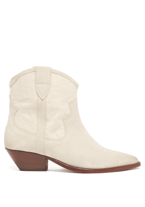 Isabel Marant - Demar Suede Ankle Boots - Womens - White