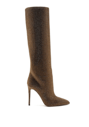 Paris Texas - Holly Crystal-embellished Suede Knee-high Boots - Womens - Brown