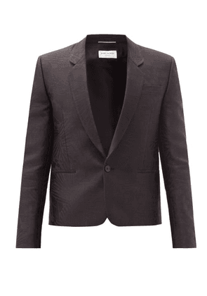 Saint Laurent - Spencer Single-breasted Silk-jacquard Blazer - Mens - Black
