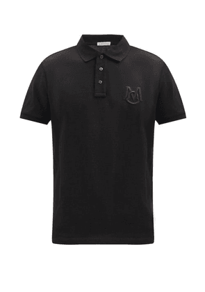 Moncler - Logo-embroidered Cotton-piqué Polo Shirt - Mens - Black