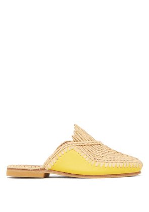 Kilometre Paris - Raffia And Leather Babouche Slippers - Womens - Yellow
