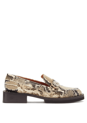Ganni - Crystal-embellished Python-effect Leather Loafers - Womens - Python
