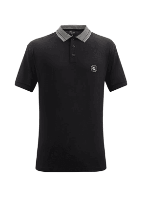 Giorgio Armani - Logo-appliqué Cotton-jersey Polo Shirt - Mens - Black