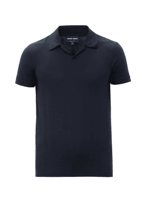 Giorgio Armani - Open-collar Piqué Polo Shirt - Mens - Navy