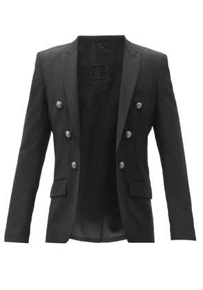 Balmain - Double-breasted Wool-twill Blazer - Mens - Black