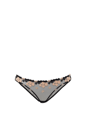 Agent Provocateur - Bethanie Floral-embroidered Sheer-tulle Briefs - Womens - Black Pink