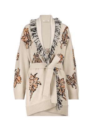 Floral Attraction intarsia wool-blend cardigan