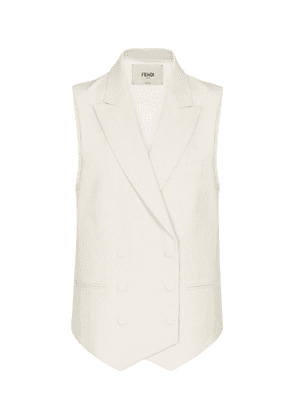 Double-breasted linen vest