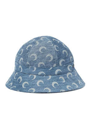 Printed cotton denim bucket hat