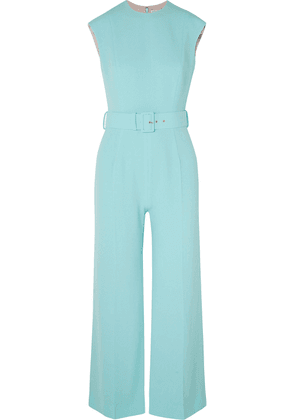 Emilia Wickstead Barbara Belted Cloqué Jumpsuit Woman Turquoise Size 14