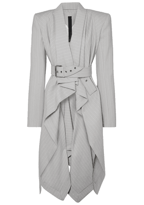 Gareth Pugh Asymmetric Pinstriped Wool-blend Blazer Woman Light gray Size 42