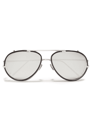Linda Farrow Aviator-style Silver-tone And Leather Mirrored Sunglasses Woman Black Size --