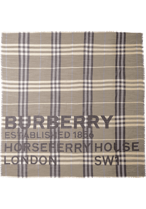 Burberry Horseferry print check-pattern scarf - Brown
