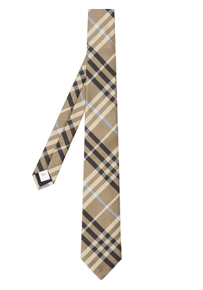 Burberry checked silk tie - Brown