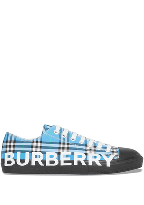 Burberry logo-print checked sneakers - Blue