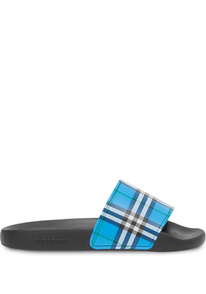 Burberry check-print open-toe slides - Blue