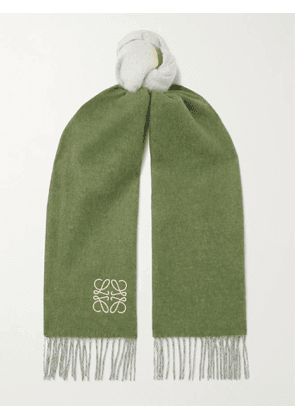 LOEWE - Window Logo-Embroiderd Colour-Block Wool and Cashmere-Blend Scarf - Men - Green