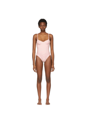 Solid and Striped Pink and Silver The Taylor One-Piece Swimsuit