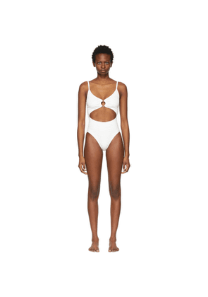 Solid and Striped White Zebra The Esme One-Piece Swimsuit