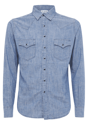 Classic Western Cotton Linen Denim Shirt
