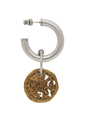 Acne Studios Silver and Gold Coin Single Earring