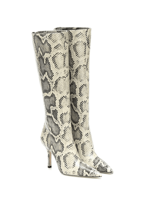 Snake-effect knee-high leather boots
