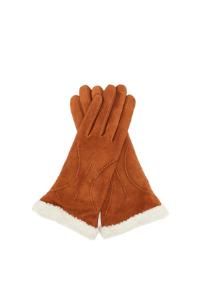 Agnelle - Sebille Leather-faced Shearling Gloves - Womens - Brown