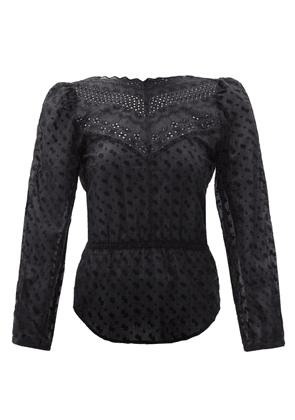 Isabel Marant Étoile - Taziae Broderie-anglaise Cotton-voile Top - Womens - Black